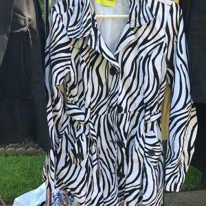 Zebra print trench coat